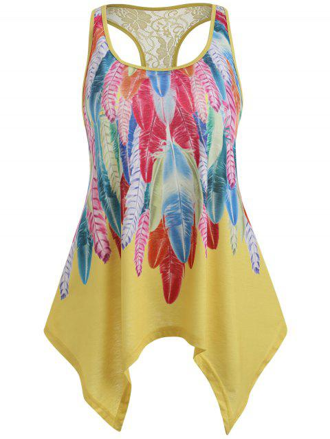 Lace Embellished Racerback Tank Top - YELLOW 2XL