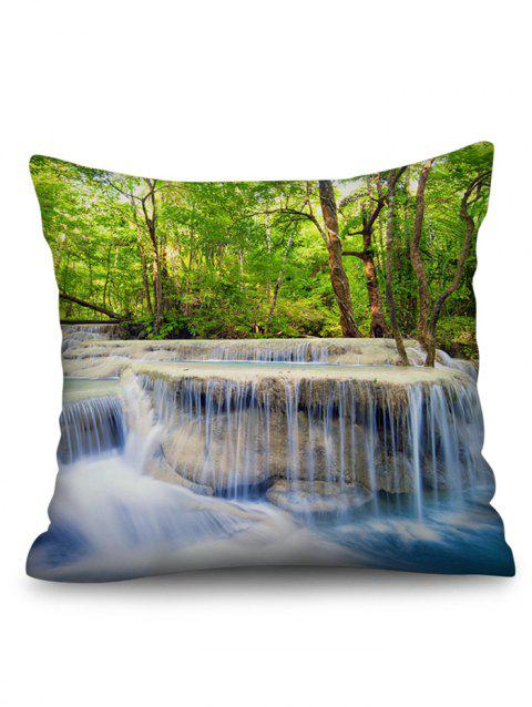 Trees Waterfall Stone Print Square Pillow Case - multicolor 45*45CM