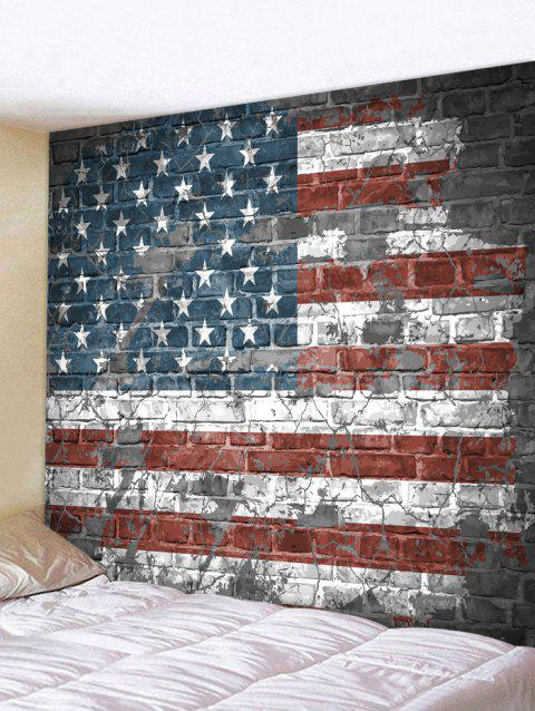 Vintage Brick Wall American Flag Print Wall Hanging Tapestry - multicolor W91 INCH * L71 INCH