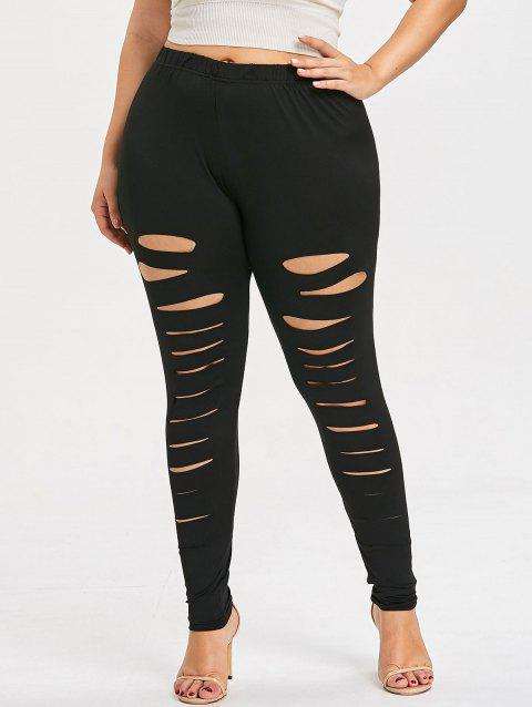 Plus Size Distressed Leggings - BLACK 2X