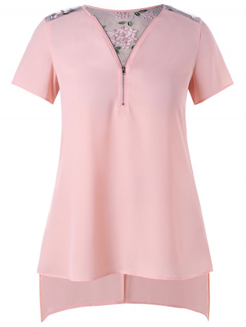 Floral Embroidery Plus Size Short Sleeve Blouse - LIGHT PINK 3XL