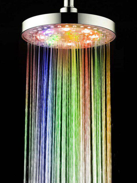 Color Changing Led Light Round Rain Bathroom Shower Head - multicolor 20*1.5CM