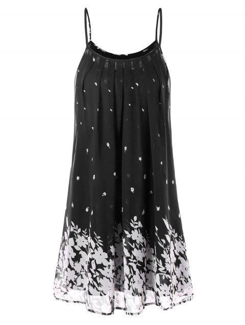 Spaghetti Strap Floral Chiffon Swing Dress - BLACK 2XL