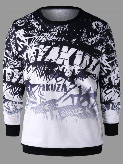 Crew Neck Printed Graphic Sweatshirt - COLORMIX XL