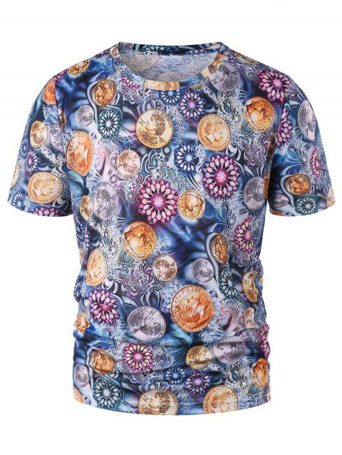 Floral Coins Print Graphic Tee - multicolor XL