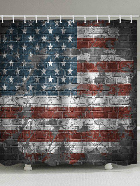 American Flag Brick Wall Print Waterproof Shower Curtain - multicolor W71 INCH * L79 INCH