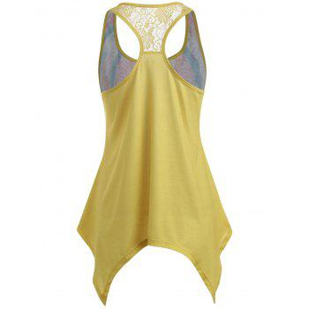 Lace Embellished Racerback Tank Top - YELLOW L