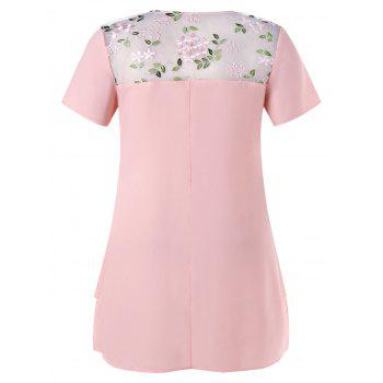 Floral Embroidery Plus Size Short Sleeve Blouse - LIGHT PINK XL
