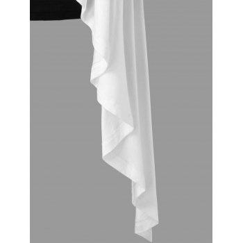 Asymmetrical Skew Neck Two Tone Overlay T-shirt - WHITE L