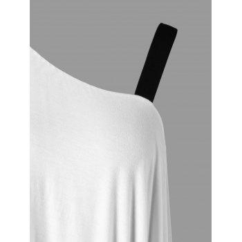Asymmetrical Skew Neck Two Tone Overlay T-shirt - WHITE M