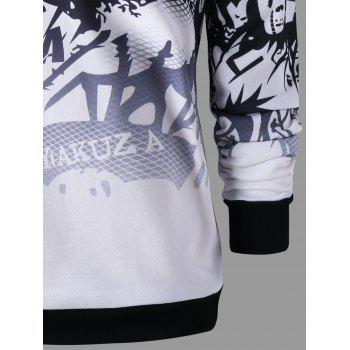 Crew Neck Printed Graphic Sweatshirt - COLORMIX 2XL