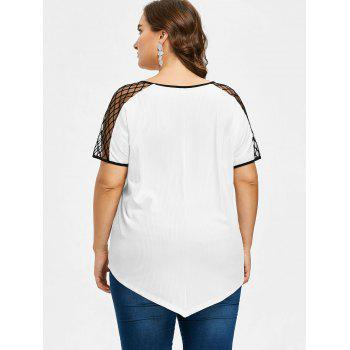 Plus Size Fishnet Trim T-shirt - WHITE 2X