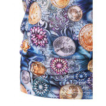 Floral Coins Print Graphic Tee - multicolor M