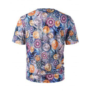 Floral Coins Print Graphic Tee - multicolor 2XL