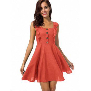 Ruffle Insert Button Embellished Mini Dress - RED S