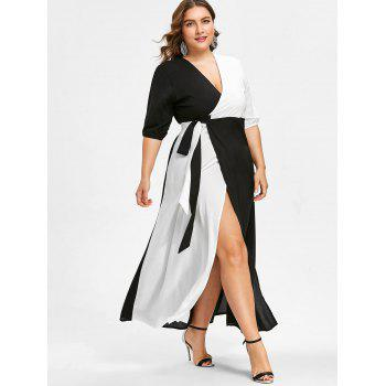 Plus Size Slit Wrap Dress - multicolor A L