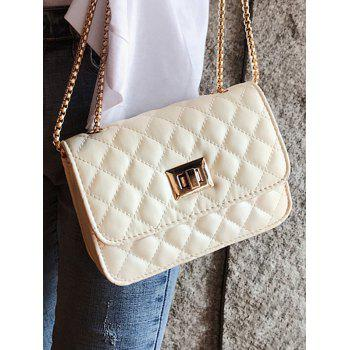 PU Leather Classic Design Pattern Crossbody Bag - WHITE