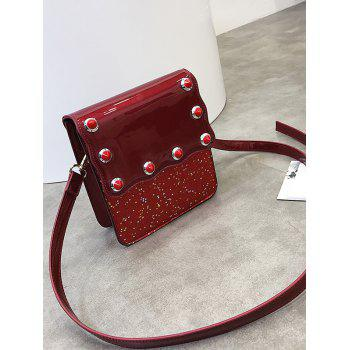 Sequins Scallop Flapped Crossbody Bag - RED