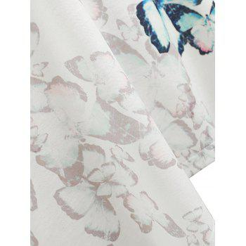 Plus Size Butterfly Print Tank Top - WHITE 5X