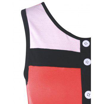 Color Block Ringer Tank Top - RED XL