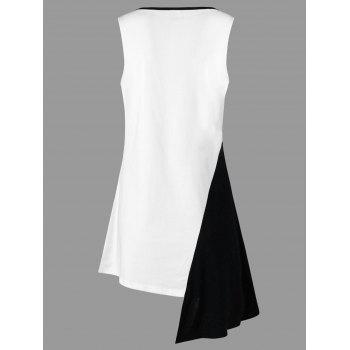 Asymmetrical Plunge Two Tone Tank Top - WHITE M