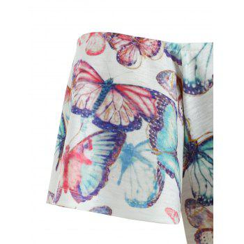 Shoulder Cut Plus Size Butterflies T-shirt - LIGHT BLUE 5X