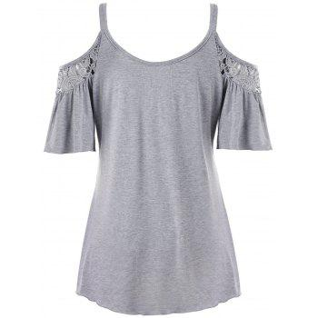 Cold Shoulder Plus Size Lace Panel Blouse - GRAY XL