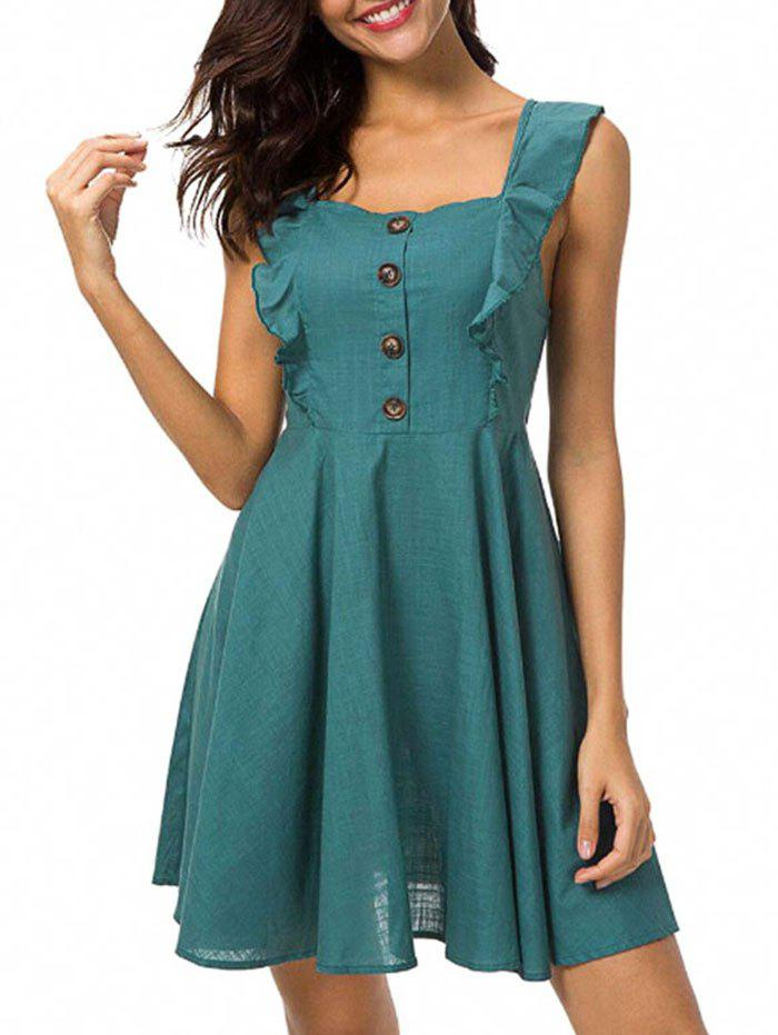 Ruffle Insert Button Embellished Mini Dress plunge ruffle insert mermaid dress