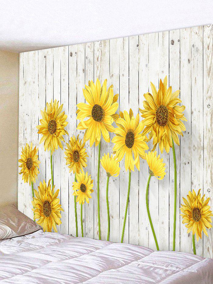2018 Blooming Sunflower Pattern Wall Decor Tapestry YELLOW W INCH L ...