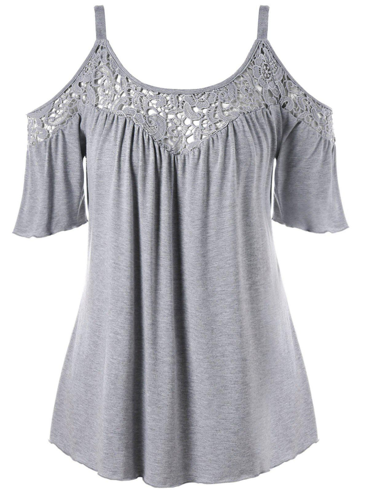 Cold Shoulder Plus Size Lace Panel Blouse - GRAY 4XL