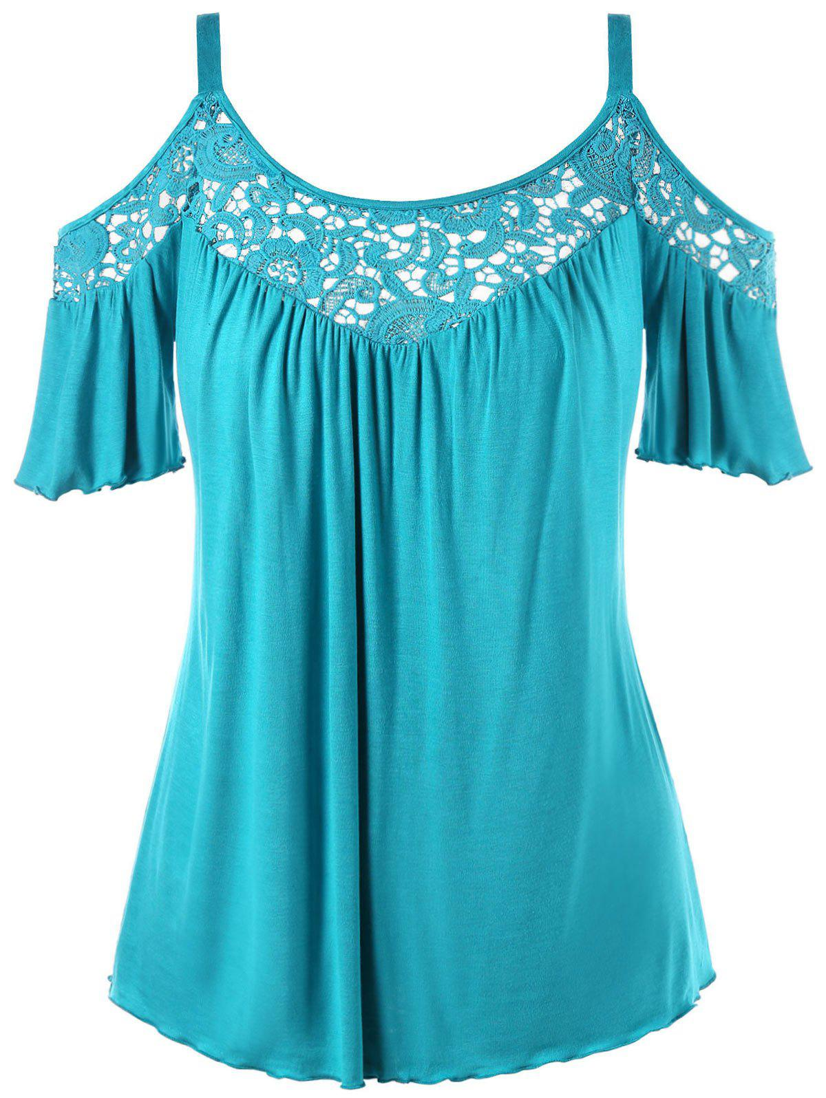 Cold Shoulder Plus Size Lace Panel Blouse - BLUE GREEN XL