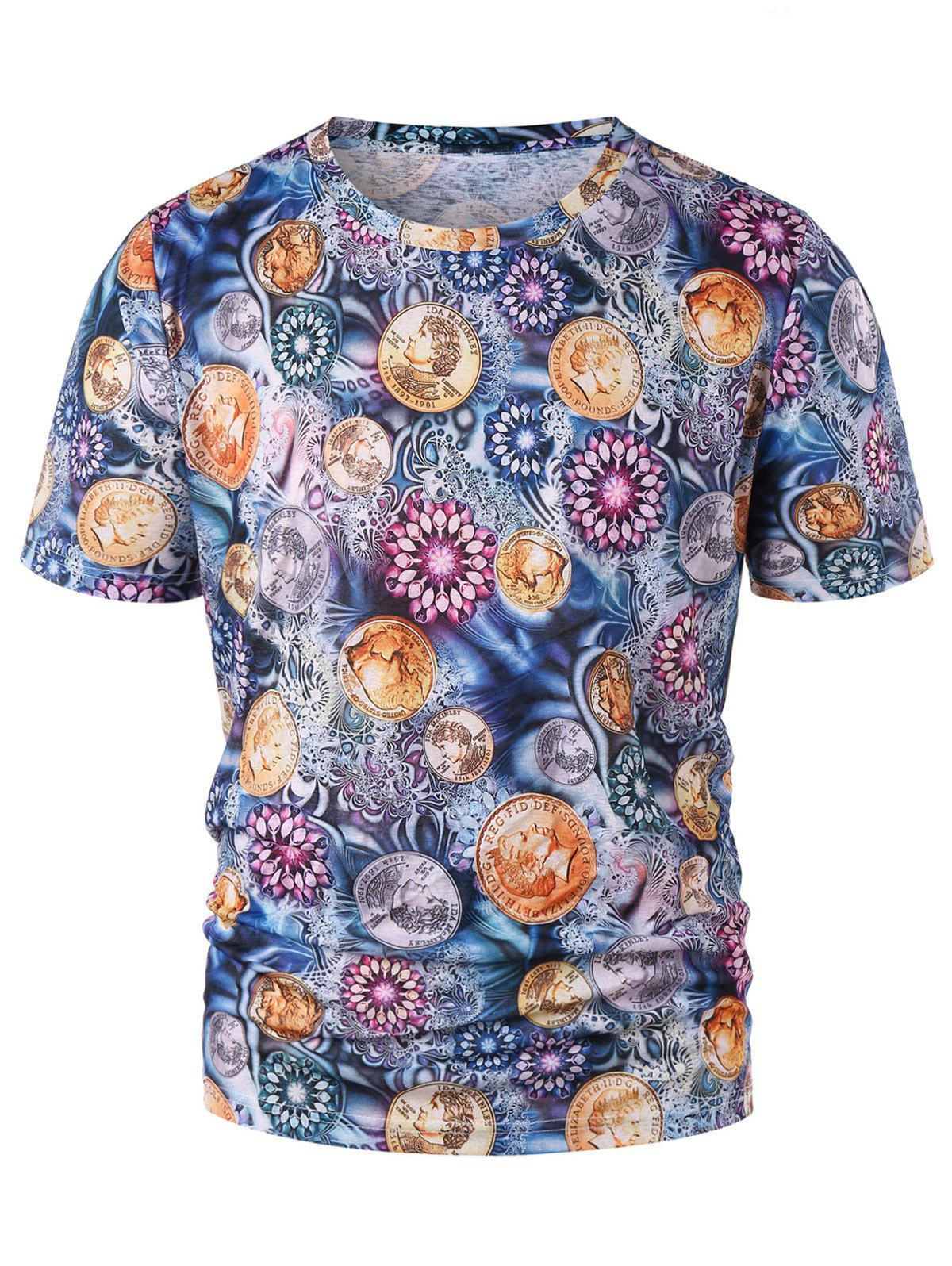 Floral Coins Print Graphic Tee - multicolor L