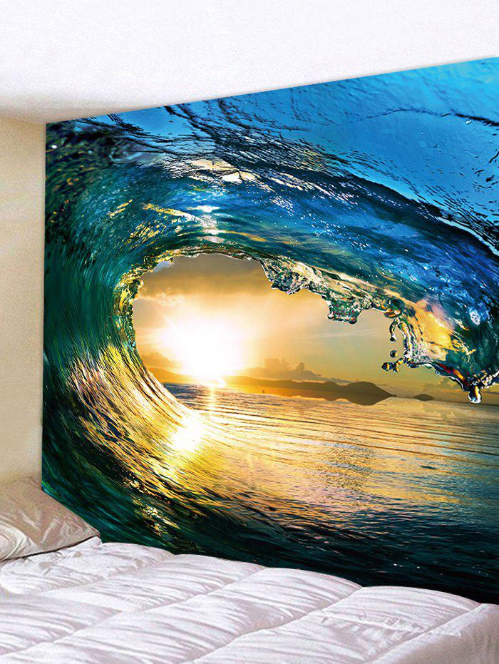 2018 Sunset Wave Pattern Wall Decor Tapestry OCEAN BLUE W INCH L ...