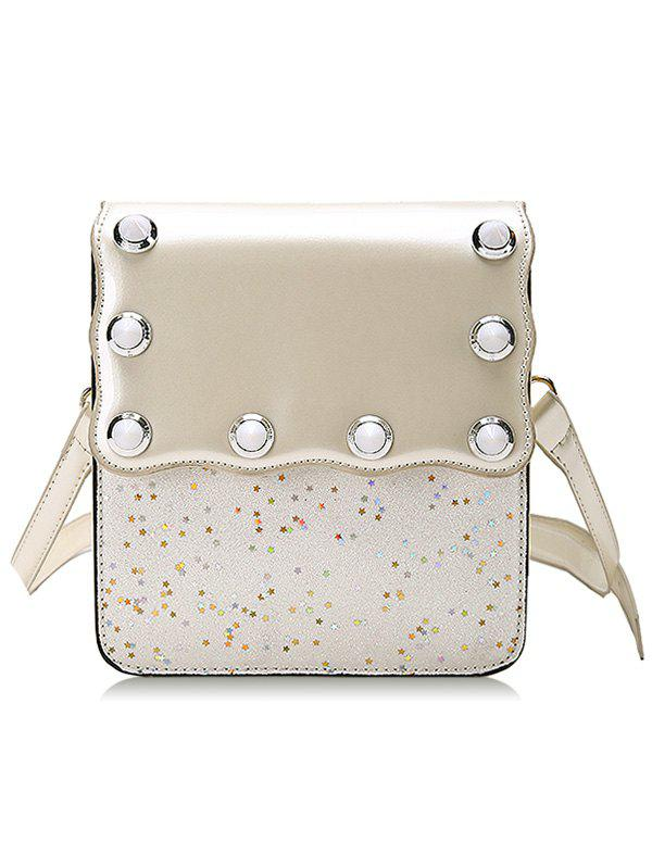 Sequins Scallop Flapped Crossbody Bag - WHITE