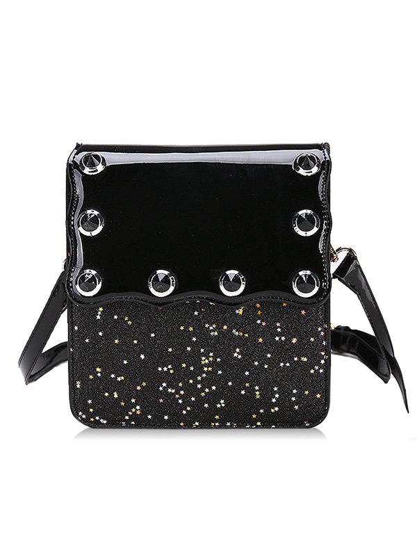 Sequins Scallop Flapped Crossbody Bag - BLACK