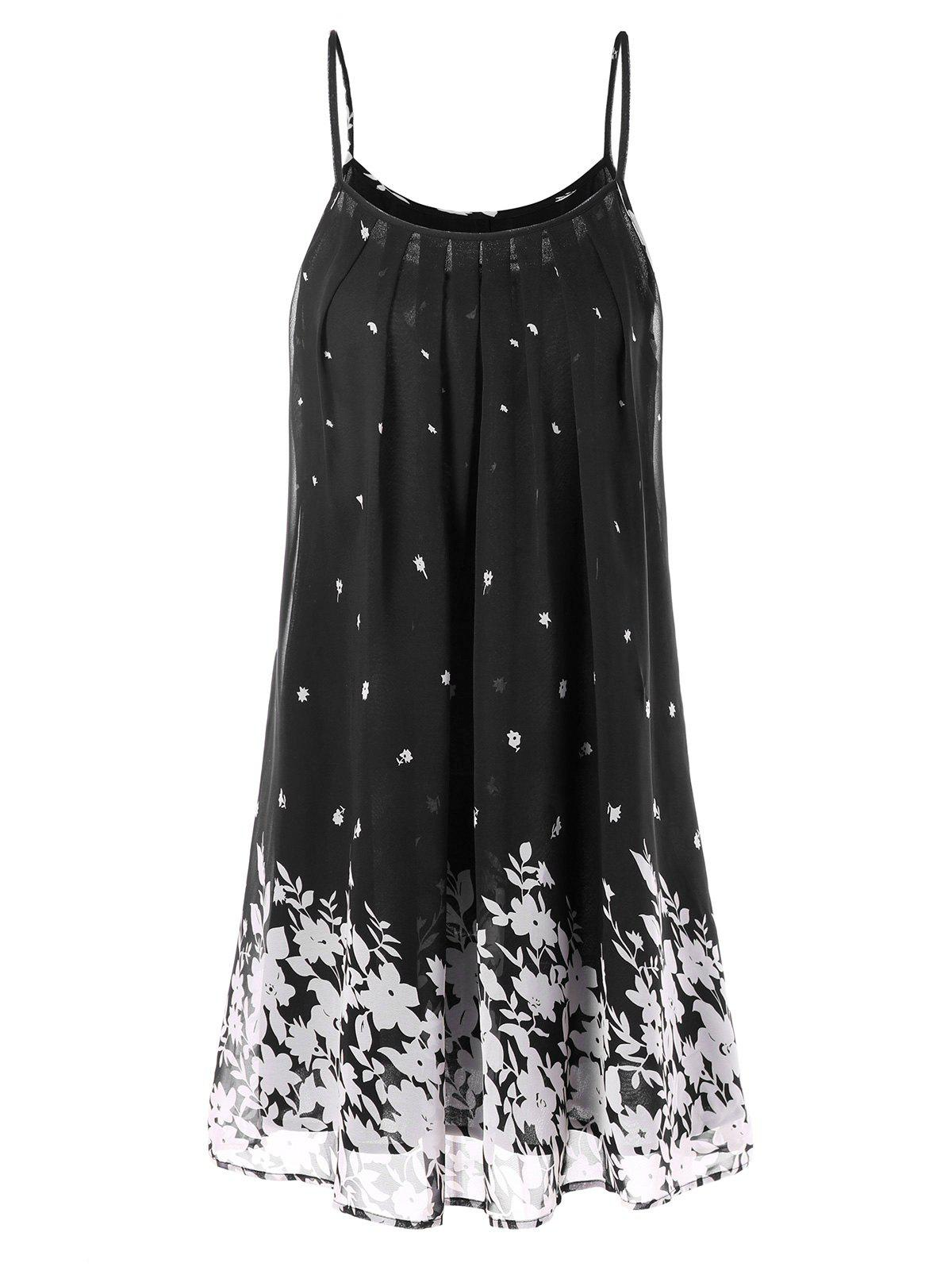 Spaghetti Strap Floral Chiffon Swing Dress - BLACK M