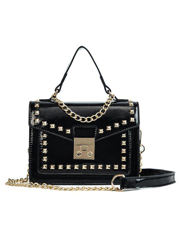 Casual Flapped Studs Crossbody Bag - BLACK