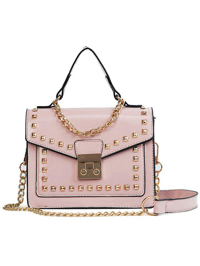 Casual Flapped Studs Crossbody Bag - PINK