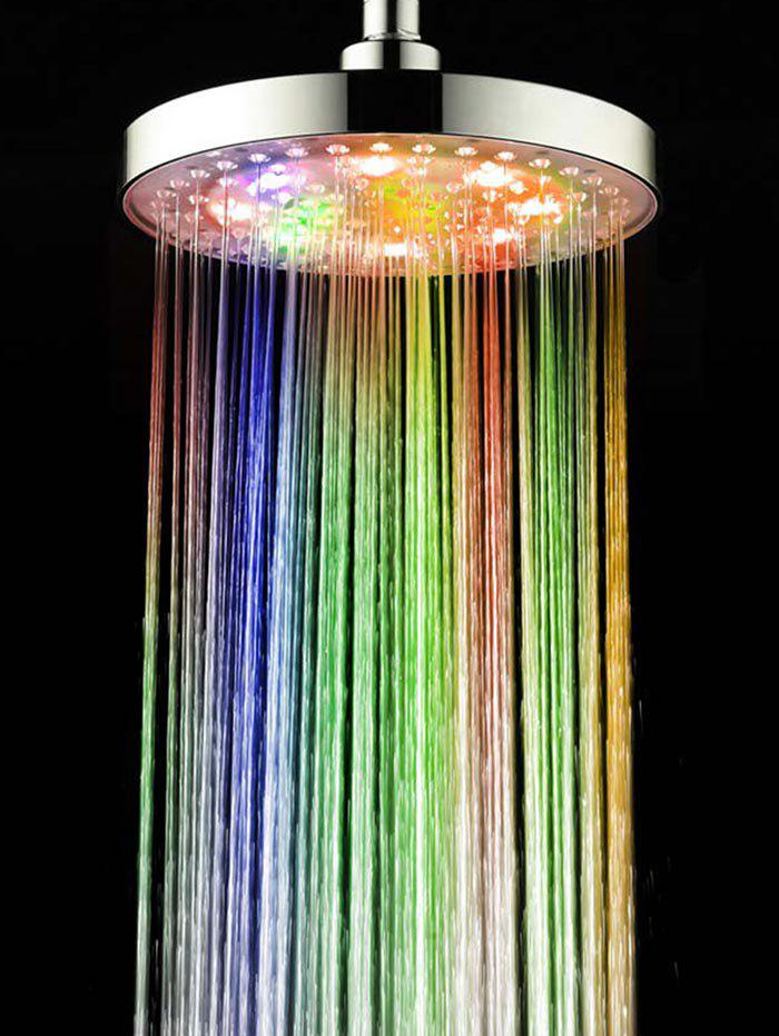 Color Changing Led Light Round Rain Bathroom Shower Head   Multicolor  20*1.5CM