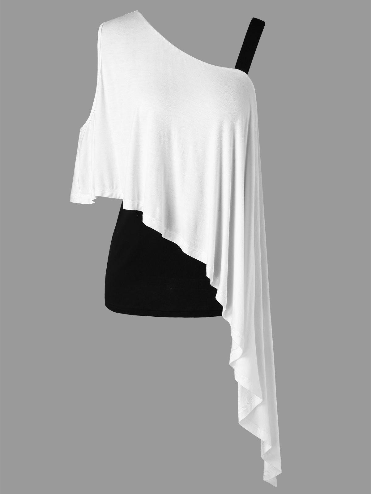 Asymmetrical Skew Neck Two Tone Overlay T-shirt - WHITE 2XL