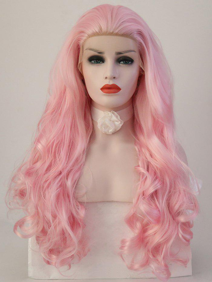 Long Free Part Wavy Lace Front Synthetic Party Wig long wavy hand tied synthetic lace front green cosplay party wig