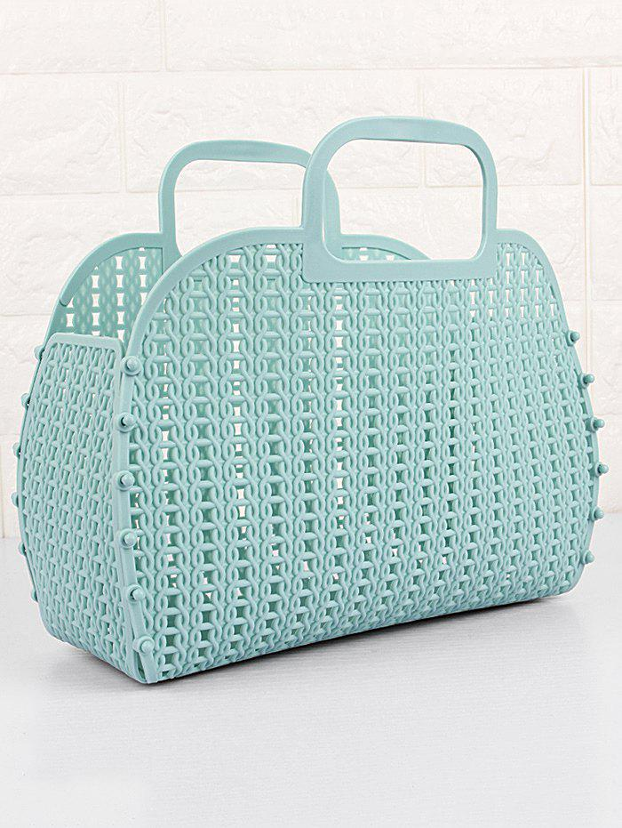 Knit Collection Foldable Braid Handbag - COLUMBIA BLUE 26*22.5*10CM