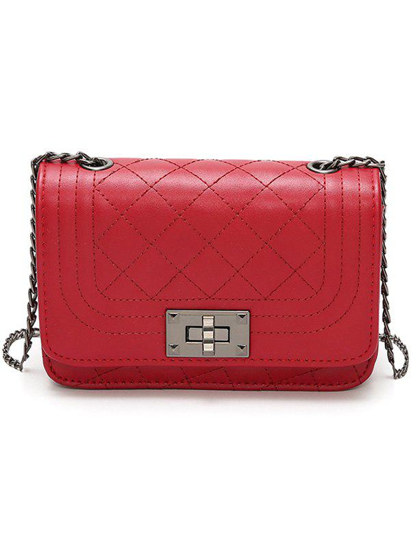Vintage Rhombic Lattice Pattern PU Leather Crossbody Bag - RED