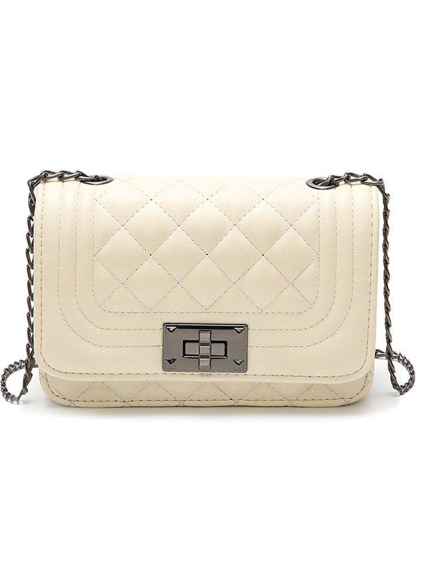 Vintage Rhombic Lattice Pattern PU Leather Crossbody Bag - WHITE