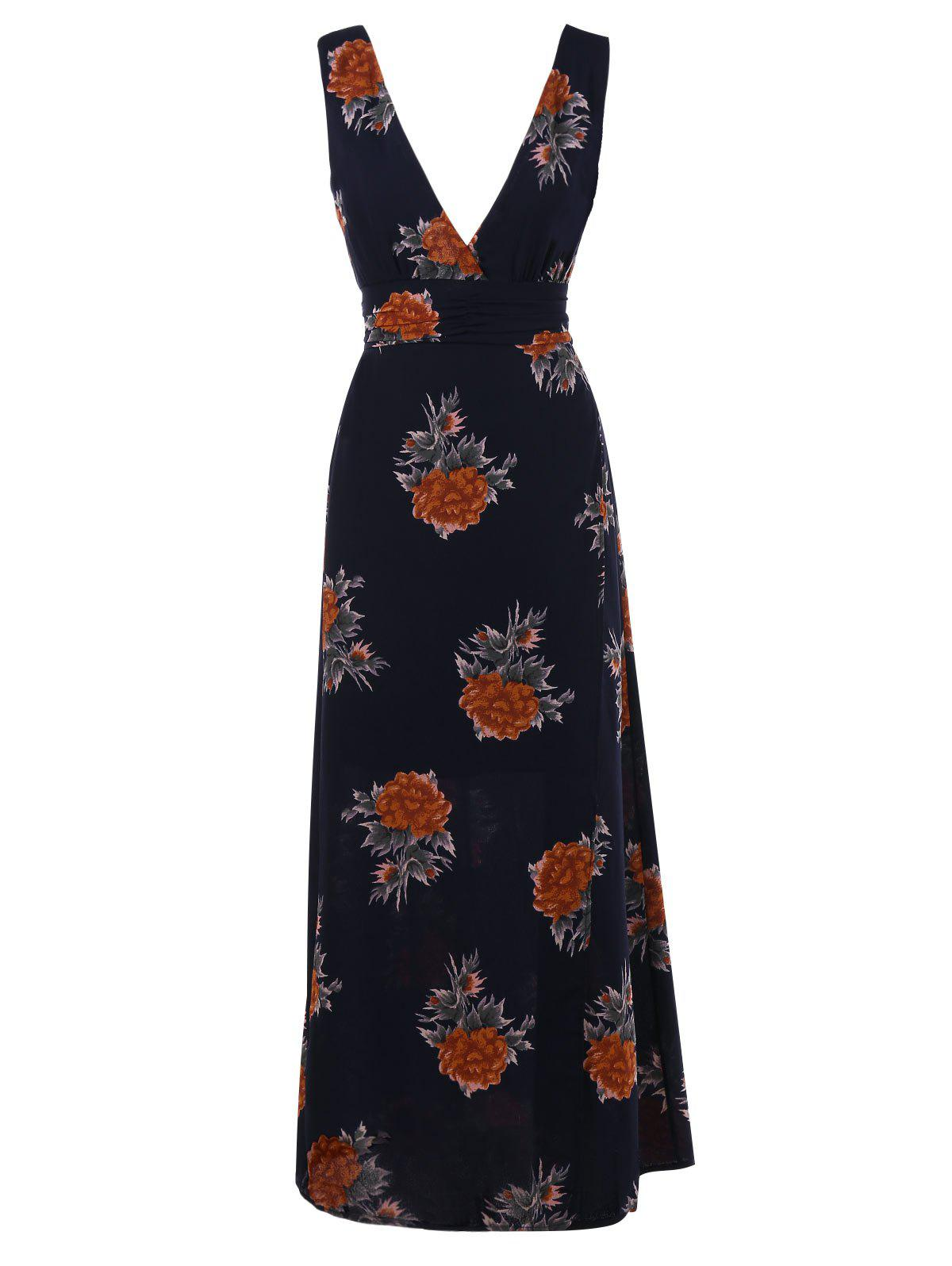 Plunge Floral Print High Slit Maxi Dress - PURPLISH BLUE L