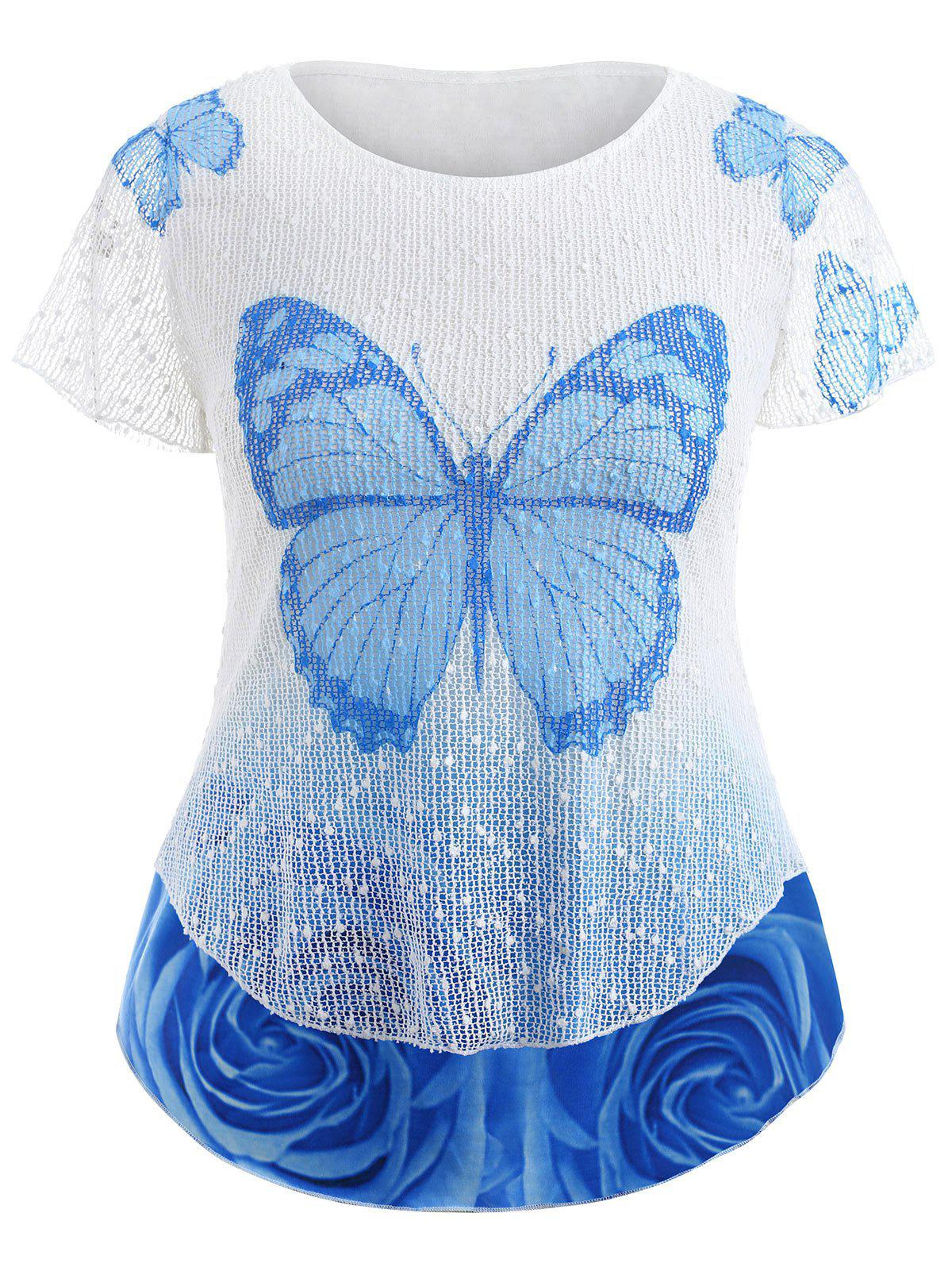 Butterfly Rose Plus Size Top - SKY BLUE L