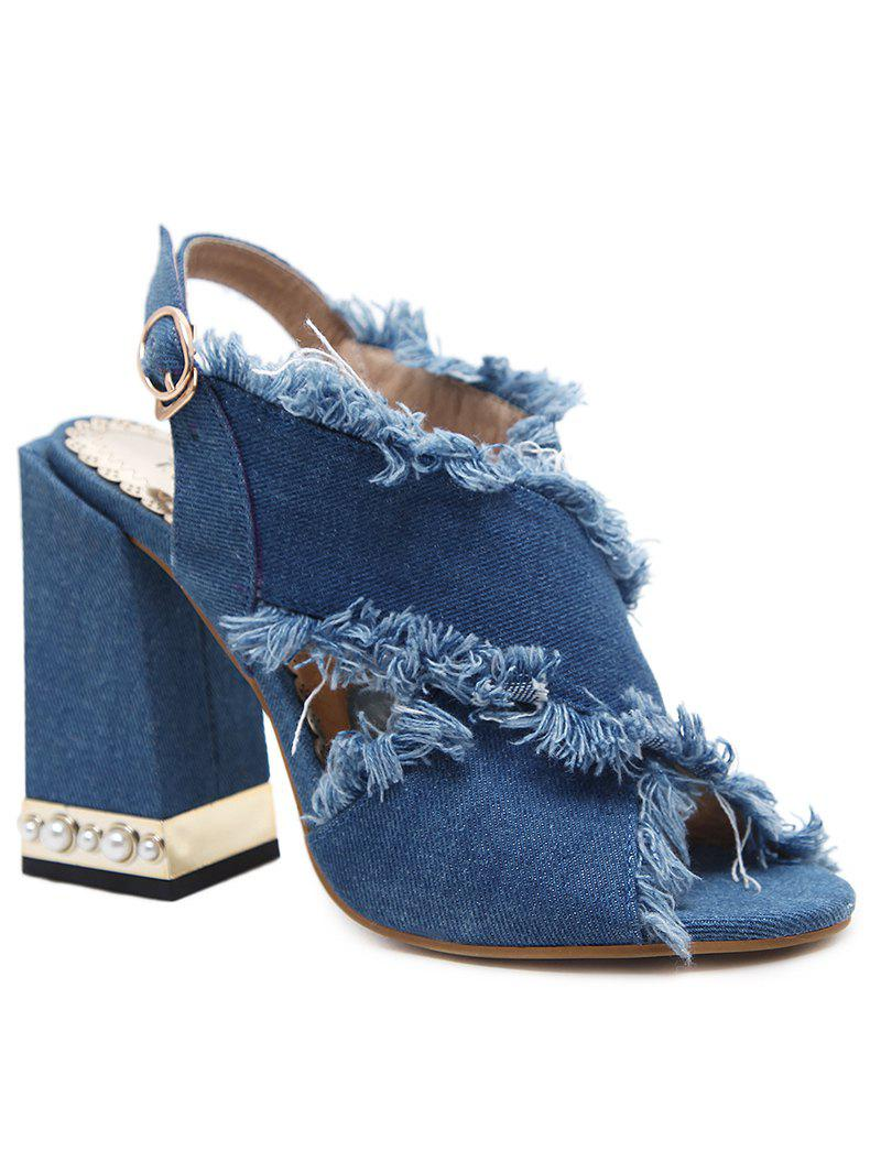 High Heel Crisscross Denim Sandals - ROYAL BLUE 40