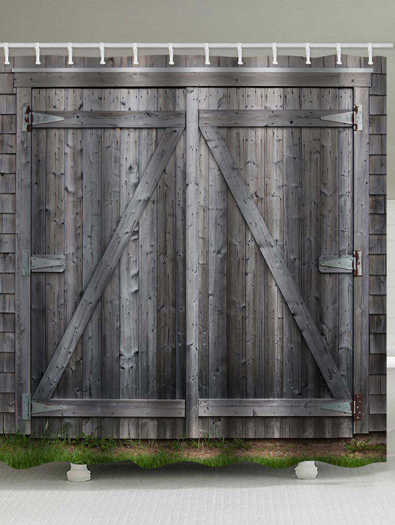 Retro Barn Door Print Shower Curtain Bathroom Decor arrow type black antique barn door roller kit for sliding barn door hardware system