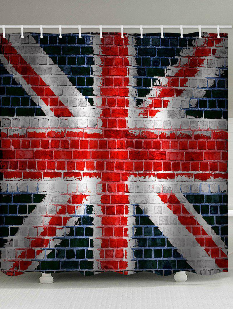 Union Jack Brick Wall Print Waterproof Shower Curtain - multicolor W71 INCH * L79 INCH