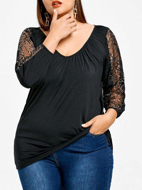 Mesh Yarn Sleeve Plus Size Fitted T-shirt - BLACK L